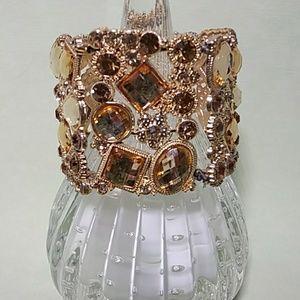 Gold Rhinestone Cuff Bracelet Glam Galore